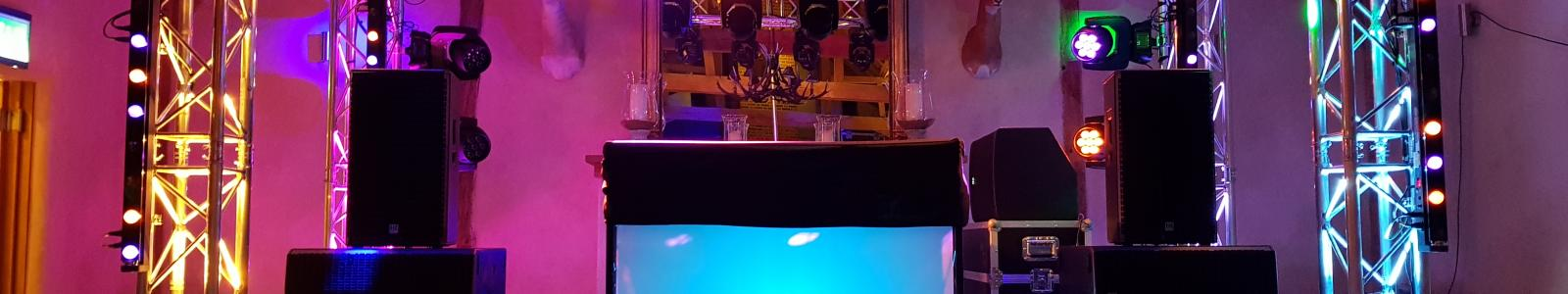 Mixers/Decks header - lights and DJ console